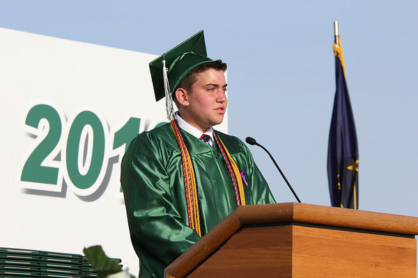SHEILA SELMAN   THE GOSHEN NEWS<br /> Will Boyer welcomes everyone to Concord High School's graduation Thursday night at Jake Field.
