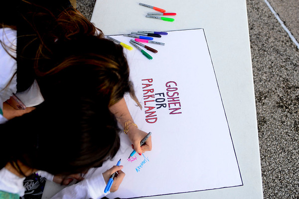 BEN MIKESELL | THE GOSHEN NEWS<br /> Goshen High School students signed banners to show solidarity for the victims of last month's school shooting in Parkland, Fla., during a national walkout Wednesday morning.