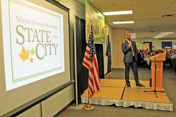 Roger Schneider | The Goshen News<br /> Goshen Mayor Jeremy Stutsman starts his state of the city address Thursday at the Goshen Founder's Day event.
