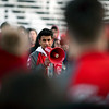 BEN MIKESELL | THE GOSHEN NEWS<br /> Goshen High School senior Jason Barahona urges students gathered on Foreman Field to call their representatives in the government to have their voices heard during the student walkout Wednesday morning. GHS participated in the national walkout to honor the victims of the shooting in Parkland, Fla., though other schools organized walkouts to protest gun control.