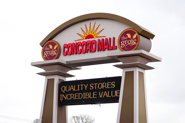BEN MIKESELL | THE GOSHEN NEWS<br /> Concord Mall's entrance sign is shown.