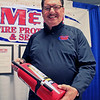 Roger Schneider | The Goshen News<br /> <br /> Bob Andrews and other staff members for M&M Fire Protection & Security, spent time Thursday talking to people about safety during the trade show at the Goshen Founder's Day event.