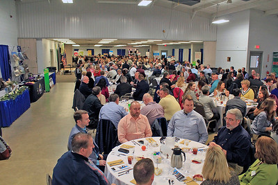 Roger Schneider | The Goshen News Part of the crowd of 390 people at the Goshen Chamber of Commerce's Founders Day event wait for lunch to be served Thursday.
