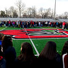 BEN MIKESELL | THE GOSHEN NEWS<br /> Goshen High School students gathered on Foreman Field Wednesday morning to participate in the national walkout planned across the country to honor the victims of last month's school shooting in Parkland, Fla.