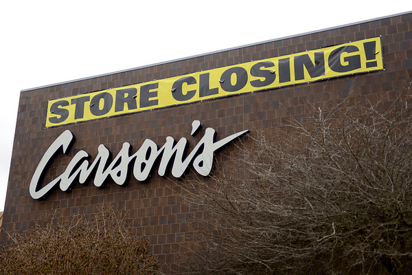 BEN MIKESELL | THE GOSHEN NEWS<br /> Signs posted at Carson's at Concord Mall indicate the store will be closing soon.