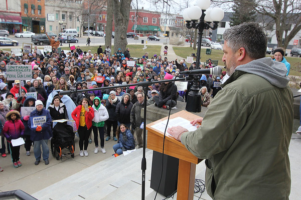 ROGER SCHNEIDER | THE GOSHEN NEWS<br /> <br /> Jeremiah Wade, a Goshen High School teacher, speaks against gun violence during the March for our Lives rally in Goshen Saturday afternoon.