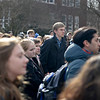 BEN MIKESELL | THE GOSHEN NEWS<br /> Goshen College students and faculty gather at Adelphian fountain near the Administration Building during a walkout Wednesday to address concerns about racism on campus.