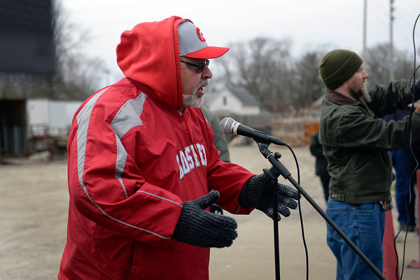 BEN MIKESELL | THE GOSHEN NEWS<br /> Goshen High School principal Barry Younghans shares his support for the crowd gathered in the GHS parking lot Saturday for the national March for Our Lives protest.