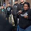 BEN MIKESELL | THE GOSHEN NEWS<br /> Goshen College campus pastor LaKendra Hardware speaks to students gathered at the Adelphian fountain Wednesday as they walked out to address concerns about racism on campus.