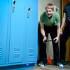 BEN MIKESELL | THE GOSHEN NEWS<br /> Bethany Christian freshman Theo Siemens-Rhodes calibrates his Sphero robot to navigate a golf course in the hallway during Bethany Christian's Interterm week Wednesday.