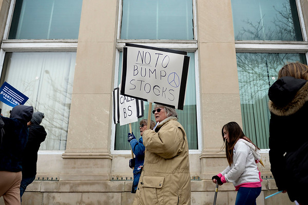 BEN MIKESELL | THE GOSHEN NEWS<br /> Protesters walk down Lincoln Avenue to the Elkhart County Courthouse Saturday afternoon during the March for Our Lives protest, organized by students in the community to call for safer schools and gun control.