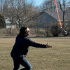 BEN MIKESELL | THE GOSHEN NEWS<br /> Bethany Christian sophomore Jacob Woolace tries to catch his rocket as it falls gently to the ground Friday during Bethany Christian's week-long Interterm program.