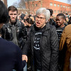 BEN MIKESELL | THE GOSHEN NEWS<br /> Goshen College president Rebecca Stoltzfus greets students who gathered outside the Administration Building during a walkout Wednesday organized by the Intercultural Coalition of Goshen College to address concerns about racism on campus.