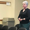 JOHN KLINE | THE GOSHEN NEWS<br /> Kim Gallagher, who for the past year has served as interim principal at the Merit Learning Center, speaks to the Goshen School Board Monday after the board voted to officially retain Gallagher as the school's principal.