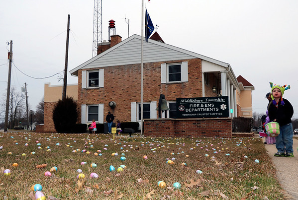 JOHN KLINE | THE GOSHEN NEWS<br /> Ethan Sparrow, 4, of Middlebury, right, waits excitedly for the annual Middlebury Township Fire Department Easter Egg Hunt to start while at Memorial Park in downtown Middlebury Saturday morning.