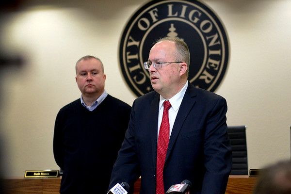 BEN MIKESELL | THE GOSHEN NEWS<br /> Noble County Prosecutor Eric Blackman speaks at a press conference with Ligonier Police Chief Bryan Shearer regarding Monday's double homicide case Friday at Ligonier City Hall.