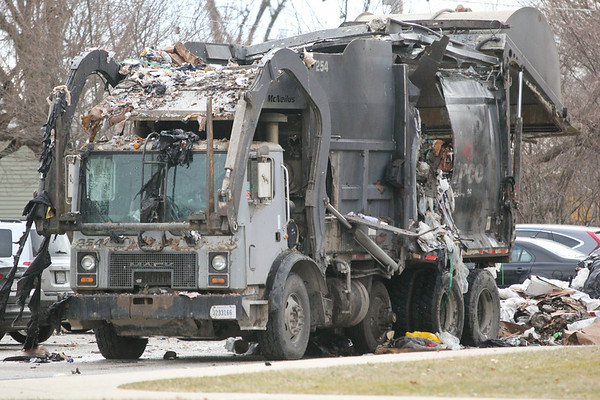 LEANDRA BEABOUT | THE GOSHEN NEWS<br /> The aftermath of a trash truck fire on the access road by Bristol Elementary School off of Indiana Avenue.