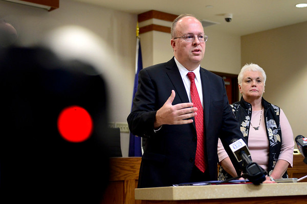 BEN MIKESELL | THE GOSHEN NEWS<br /> Noble County Prosecutor Eric Blackman speaks at a press conference regarding Monday's double homicide case Friday at Ligonier City Hall.