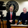 BEN MIKESELL | THE GOSHEN NEWS<br /> Ligonier Police Chief Bryan Shearer, right, speaks to media during a press conference Friday at Ligonier City Hall regarding Monday's double homicide.