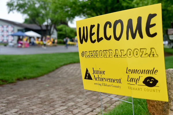 BEN MIKESELL | THE GOSHEN NEWS<br /> Junior Achievement's Lemonpalooza events for Lemonade Day took place at four different locations around Elkhart County Saturday. The sign shown here is near Das Dutchman Essenhaus in Middlebury.