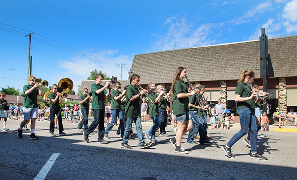JULIE CROTHERS BEER | THE GOSHEN NEWS<br /> Members of the Milford Marching Band participate Monday in Milford's Memorial Day parade.