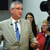 BEN MIKESELL | THE GOSHEN NEWS<br /> Governor Eric Holcomb speaks to the press during a visit to the Disaster Recovery Center Wednesday in Elkhart.