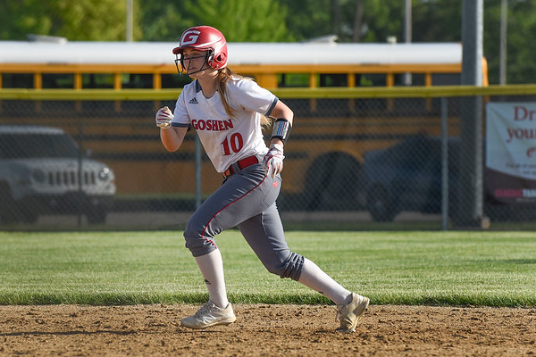 BEN MIKESELL | THE GOSHEN NEWS<br /> Goshen High School sophomore Grace Vance gains a lead-off from second base during Wednesday's sectional game against Elkhart Central at Elkhart Memorial.