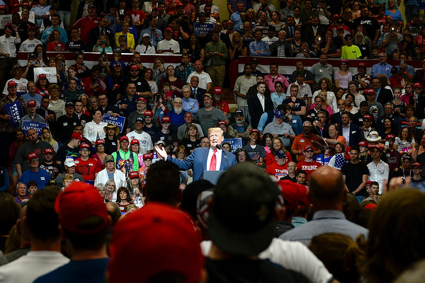 BEN MIKESELL | THE GOSHEN NEWS<br /> President Donald Trump speaks during his rally Thursday night at North Side Gym in Elkhart, Indiana.