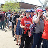 BEN MIKESELL | THE GOSHEN NEWS<br /> People wait in line to get into North Side Gym for President Donald Trump's rally at North Side Gym in Elkhart.
