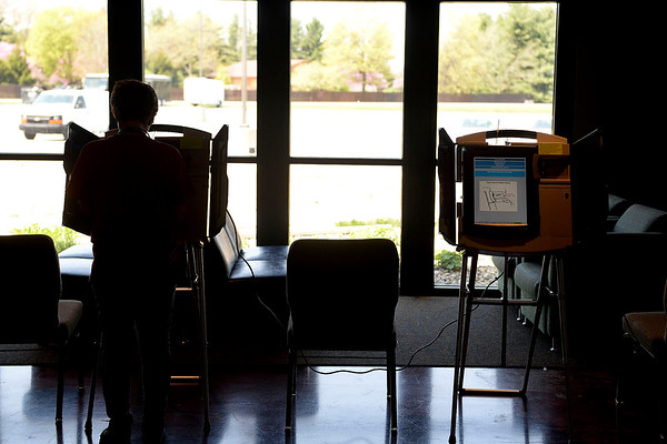 BEN MIKESELL | THE GOSHEN NEWS<br /> A Goshen resident casts her ballot during the Primary Election Tuesday afternoon at Grace Community Church in Goshen.
