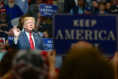BEN MIKESELL   THE GOSHEN NEWS President Donald Trump speaks during his rally Thursday night at North Side Gym in Elkhart, Indiana.