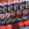 BEN MIKESELL | THE GOSHEN NEWS<br /> A cart with Donald Trump-themed pins is seen on Emerald Street before the President's rally at North Side Gym in Elkhart.