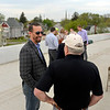 BEN MIKESELL | THE GOSHEN NEWS<br /> Mayor Jeremy Stutsman talks with former mayor Allan Kauffman before the ribbon-cutting ceremony for the U.S. 33 North Connector route above Lincoln Avenue in Goshen.