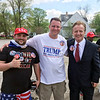 BEN MIKESELL | THE GOSHEN NEWS<br /> Benjamin Hirschmann of Michigan, Travis Klinefelter of Iowa and Richard Snowden of Tennessee were some of the first in line at the Trump Elkhart rally. Snowden's been to 44 rallies in 19 states.