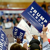 BEN MIKESELL | THE GOSHEN NEWS<br /> The crowd holds up signs before President Donald Trump's rally Thursday at North Side Gym in Elkhart.