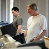 BEN MIKESELL | THE GOSHEN NEWS<br /> Richard Ambrosen, right, Goshen, casts his ballot on the machine during the Primary Election Tuesday at the Salvation Army in Goshen.
