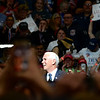 BEN MIKESELL | THE GOSHEN NEWS<br /> Vice President Mike Pence speaks at the podium during President Donald Trump's rally Thursday night at North Side Gym in Elkhart, Indiana.