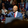 BEN MIKESELL | THE GOSHEN NEWS<br /> Indiana Attorney General Curtis Hill speaks to the crowd gathered for President Donald Trump's rally Thursday at North Side Gym in Elkhart.