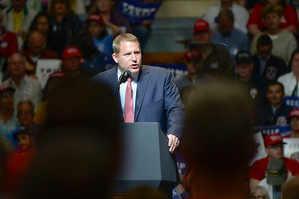BEN MIKESELL | THE GOSHEN NEWS<br /> Kyle Hupfer, state chairman with the Republican party, speaks to the crowd gathered for President Donald Trump's rally Thursday at North Side Gym in Elkhart.
