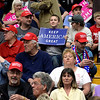 BEN MIKESELL | THE GOSHEN NEWS<br /> Supporters of President Donald Trump begin to fill up the bleachers for Trump's rally Thursday at North Side Gym in Elkhart.
