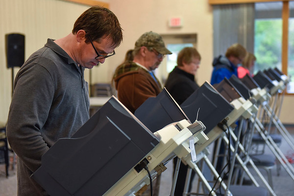 BEN MIKESELL | THE GOSHEN NEWS<br /> Steve Guipe, of Goshen, casts his vote in the midterm election Tuesday afternoon at the Salvation Army in Goshen.