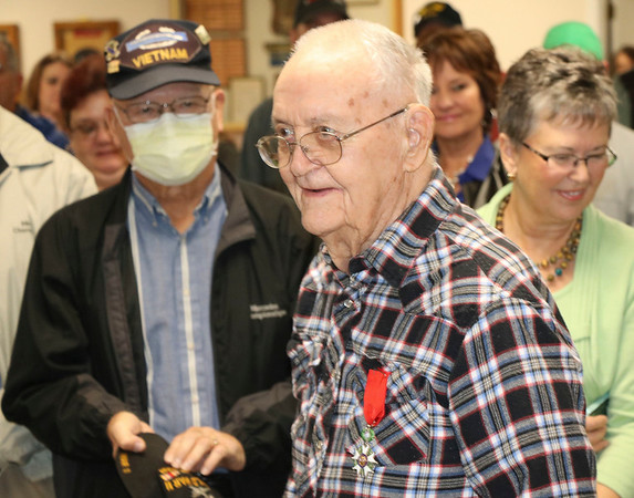 JOHN KLINE | THE GOSHEN NEWS<br /> World War II veteran Dan Levernier, 95, of Milford, smiles after being awarded the French Legion of Honor — France's highest honor — during a ceremony in his honor Monday at the Milford Community Building.
