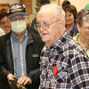 JOHN KLINE   THE GOSHEN NEWS<br /> World War II veteran Dan Levernier, 95, of Milford, smiles after being awarded the French Legion of Honor — France's highest honor — during a ceremony in his honor Monday at the Milford Community Building.