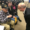 JOHN KLINE | THE GOSHEN NEWS<br /> Guillaume Lacroix, consul general of France based out of Chicago, Illinois, right, chats with Dan Levernier, 95, of Milford, a World War II veteran honored Monday with the French Legion of Honor medal for his service in helping to liberate France from Nazi occupation during the war.