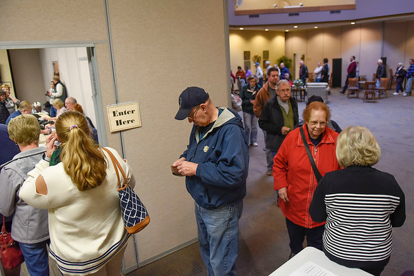 BEN MIKESELL | THE GOSHEN NEWS<br /> People wait in line to vote in Tuesday's midterm election at Greencroft Goshen.