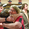 BEN MIKESELL | THE GOSHEN NEWS<br /> Patty Pickens embraces Samantha Walton, of Goshen, after Pickens was announced as the winner in the Elkhart County auditor race Tuesday night at the Veterans of Foreign Wars Post in Goshen.