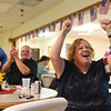 BEN MIKESELL | THE GOSHEN NEWS<br /> Elkhart County Republican Party secretary Debbie Johnson reacts to Mike Braun's victory over Joe Donnelly in the U.S. Senate race Tuesday night at the Veterans of Foreign Wars Post in Goshen.