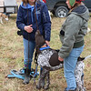 JOHN KLINE | THE GOSHEN NEWS<br /> Belva Sutton Dreer, co-founder of Heartland Mushers Association, left, chats with Goshen resident Megan Kolaczyk during a Mushing 101 class at River Preserve County Park Saturday afternoon.