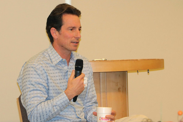 JOHN KLINE | THE GOSHEN NEWS<br /> Jason Lippert, CEO of Lippert Components Inc., speaks during the eighth annual Success by 6 Early Childhood Business Summit at Goshen College Friday morning.