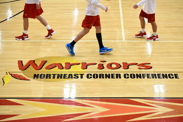 BEN MIKESELL   THE GOSHEN NEWS<br /> The Westview Warriors varsity team warms up prior to their season opener against Bethany Christian Tuesday night at Westview Jr.-Sr. High School.